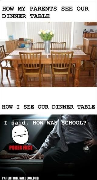 dinner table,how was school,parents,poker face
