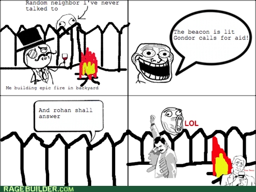 sir,Lord of the Rings,neighbor,Rage Comics,troll face