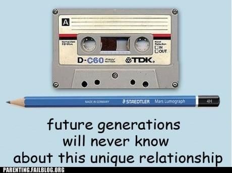 cassette tape,future generations,pencil