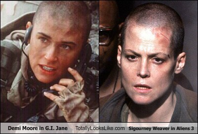 Demi Moore in G.I. Jane Totally Looks Like Sigourney Weaver in Aliens 3