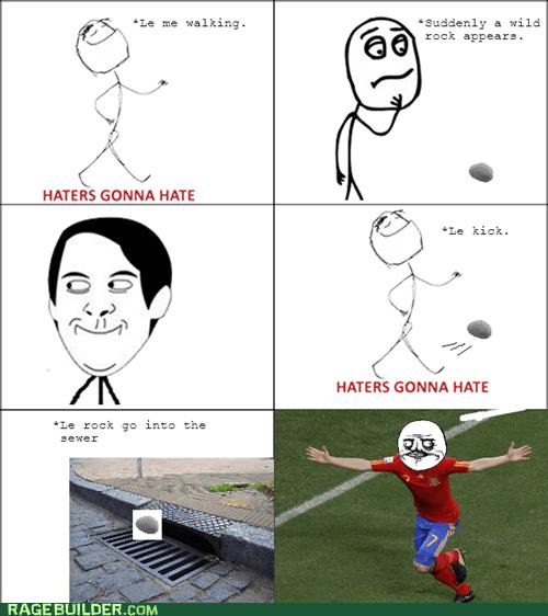 haters gonna hate,kick,Rage Comics,rock,soccer
