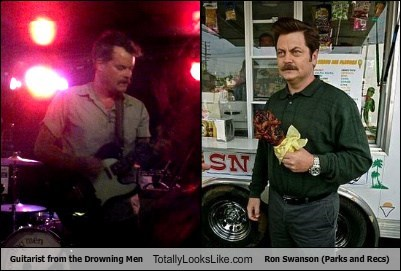 Guitarist From The Drowning Men Totally Looks Like Nick Offerman (Ron Swanson, Parks and Rec)
