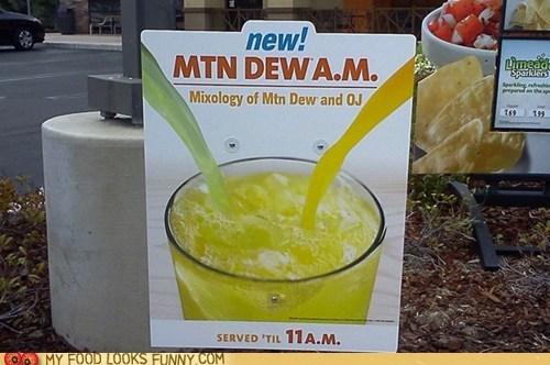 breakfast,mountain dew,orange juice