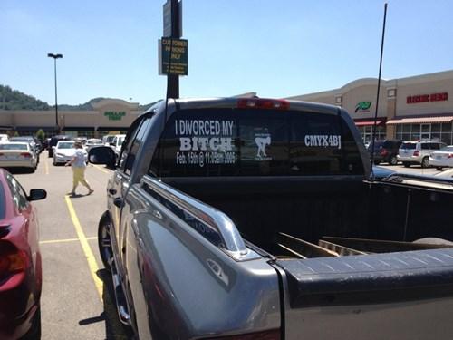 celebration,congratulations,divorced,trucks