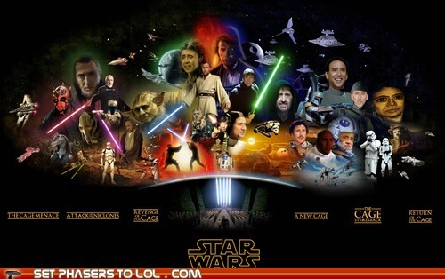 A New Hope,anakin skywalker,attack of the clones,characters,darth maul,Empire Strikes Back,everyone,Han Solo,luke skywalker,nicolas cage,return of the jedi,Revenge of the Sith,star wars,the phantom menace,yoda