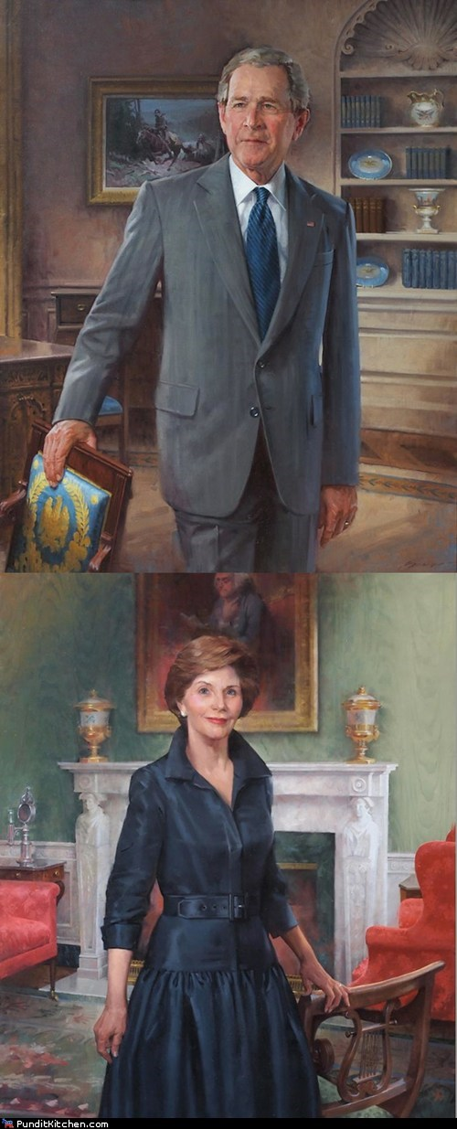 george w bush,Laura Bush,political pictures,portraits,Republicans