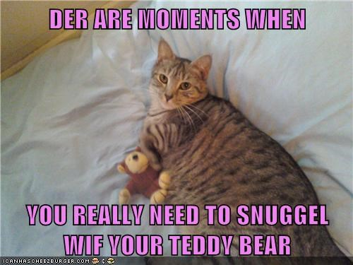 DER ARE MOMENTS WHEN   YOU REALLY NEED TO SNUGGEL WIF YOUR TEDDY BEAR