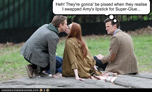 amy pond,arthur darvill,doctor who,karen gillan,lipstick,Matt Smith,pranks,rory,super glue,the doctor