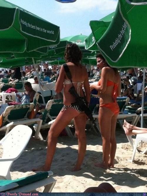 babes,BAMF,beach,bikini,gun,machine gun,swimsuit