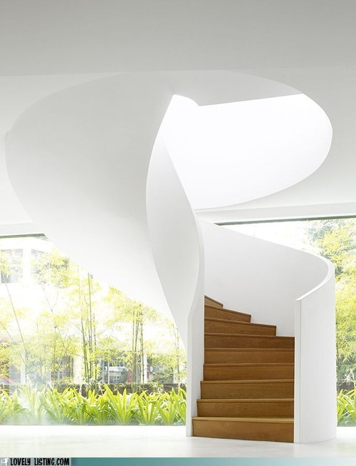 spiral,stairs,white,windows,wood