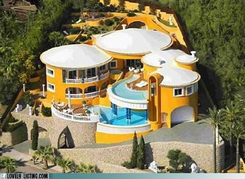 drum,house,mansion,pools,round