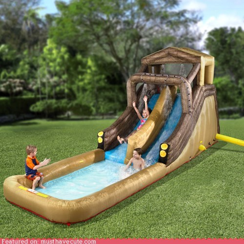 inflatable,log flume,pool,slide,water,yard