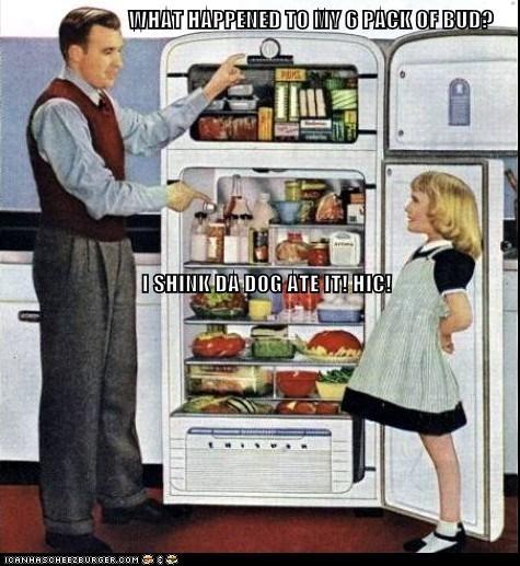 beer,blame,dad,daughter,dogs,drunk,fridge,girl
