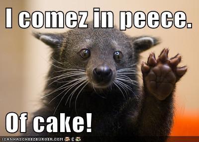I comez in peece.  Of cake!