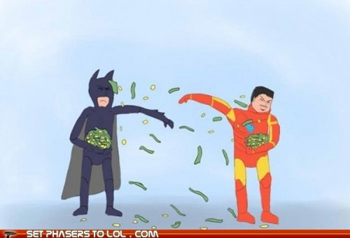 batman,best of the week,bruce wayne,fight,iron man,money,rich,throwing,tony stark