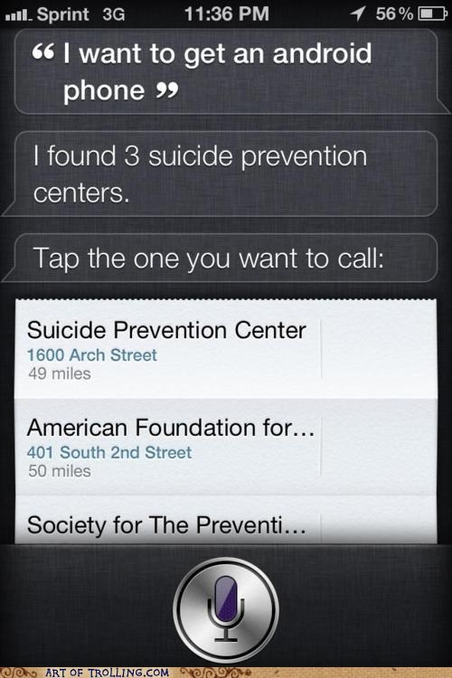 android,iphone,IRL,siri,suicide prevention