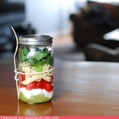 basil,epicute,jar,layers,lunch,pasta,tomatoes