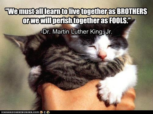 """We must all learn to live together as BROTHERS"