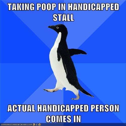 handicap,person,socially awkward,socially awkward penguin,stall