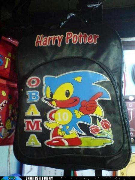 backpack,barack obama,Harry Potter,obama,sonic,sonic the hedgehog