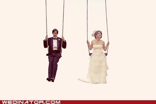 bride,funny wedding photos,groom,swing