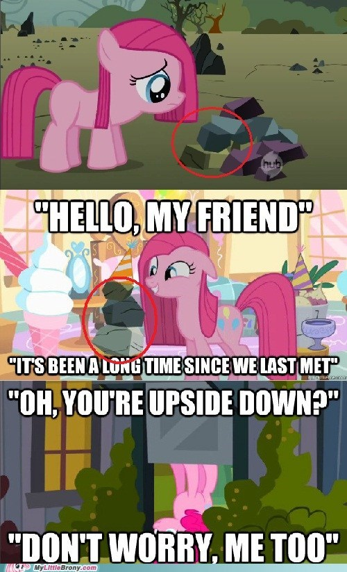 comic,comics,party rock,pinkie pie,rocks,upside down