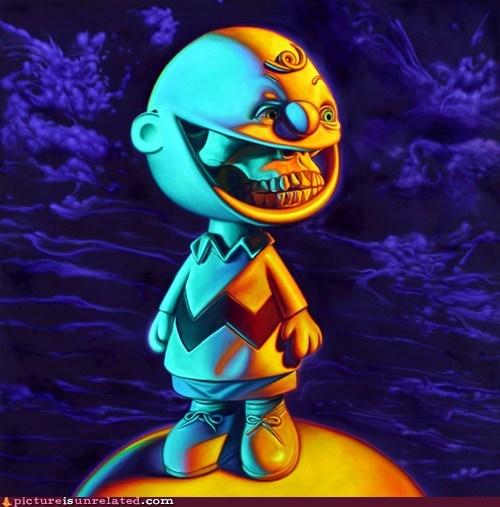 cartoons,charlie brown,creepy,good grief,skeleton,wtf