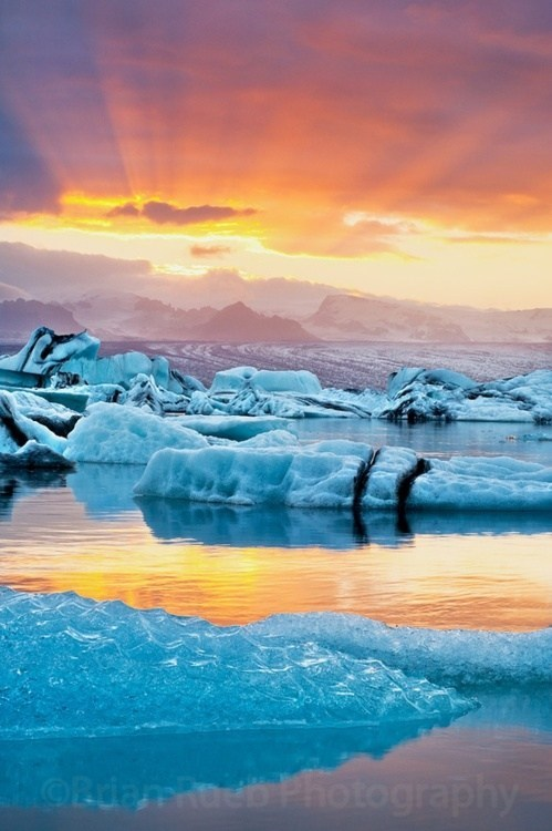 glacier,Hall of Fame,ice,Iceland,ocean,sunset