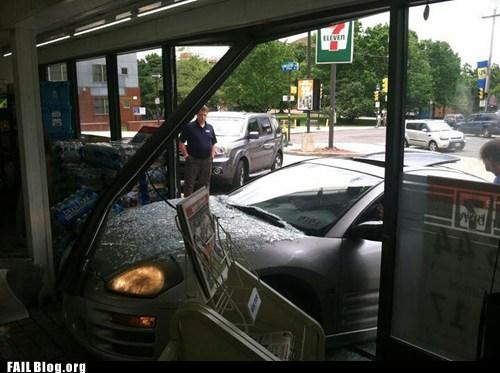 7eleven,car crash,convenience store