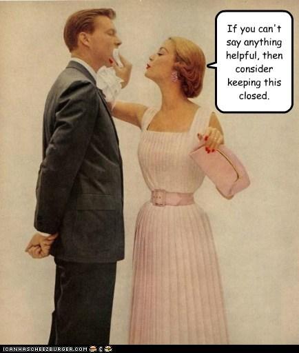 man,napkin,rude,shut your mouth,woman