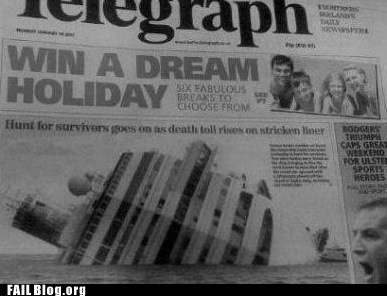 cruise,holiday,newspaper,sinking,vacation