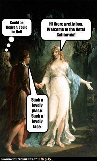 eagles,hotel california,lyrics,man,painting,woman