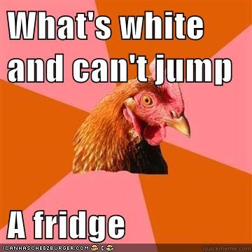 Anti-Joke Chicke,anti joke chicken,fridge,racism,white