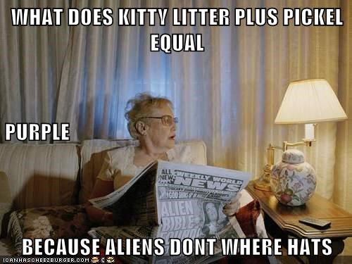 WHAT DOES KITTY LITTER PLUS PICKEL EQUAL PURPLE BECAUSE ALIENS DONT WHERE HATS