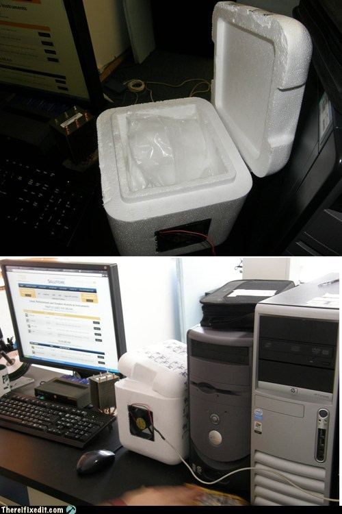 computer,cooler,cooling,desktop,dry ice,styrofoam cooler,USB