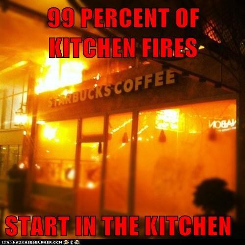 99 PERCENT OF KITCHEN FIRES   START IN THE KITCHEN
