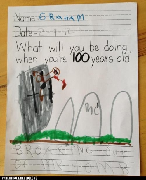 100 years old,breaking out of my tomb,childrens-answers,childrens-writing