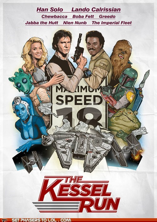 boba fett,cannonball run,chewbacca,FanArt,greedo,Han Solo,jabba the hutt,kessel run,Lando Calrissian,old movie,parsecs,poster,race,star wars