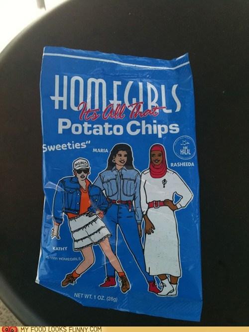 bag,chips,homegirl,racially diverse,sweeties