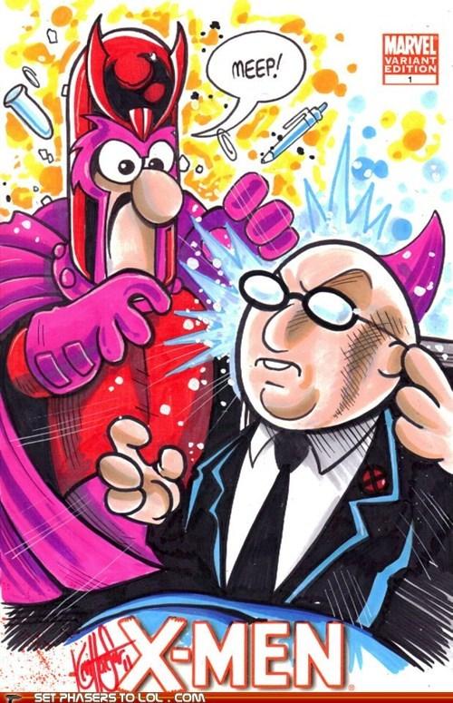 beaker,dr-bunsen-honeydew,Magneto,meep,muppets,professor x,x men