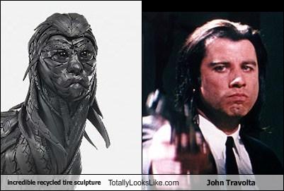 actor,art,celeb,funny,john travolta,sculpture,TLL