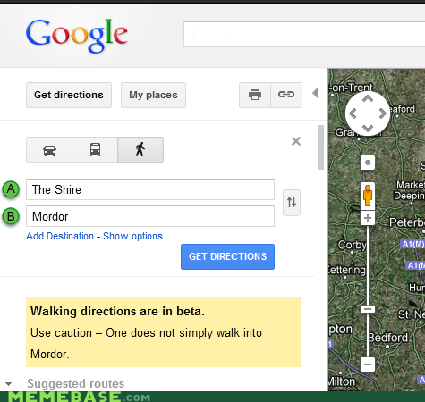 LOTR Google Maps Easter Egg