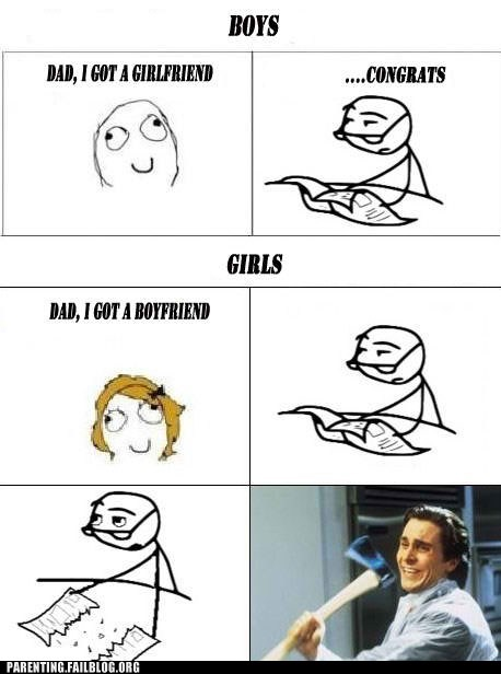 american psycho,boyfriend,dad,daughter,girlfriend,Rage Comics,son