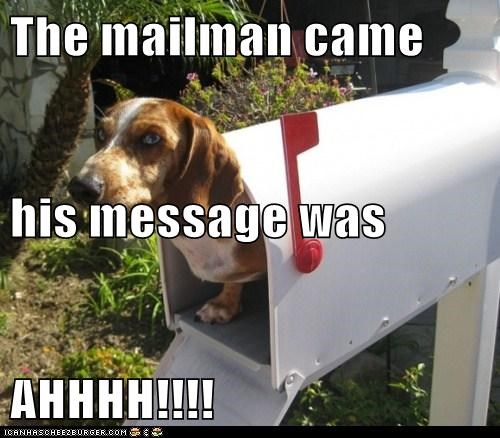 The mailman came his message was AHHHH!!!!