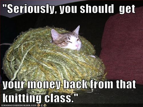 """Seriously, you should  get  your money back from that knitting class."""