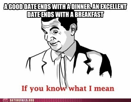 breakfast,dinner,good date,if you know what i mean
