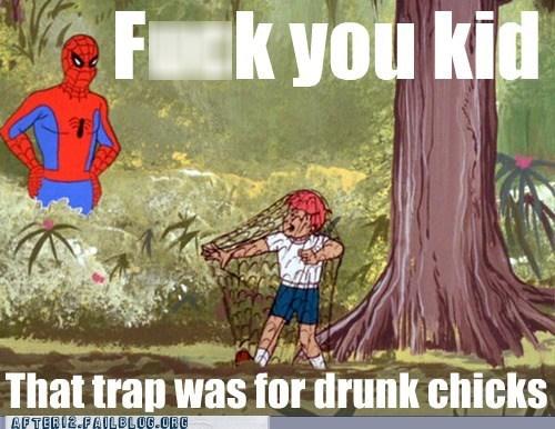 drunk chicks,Spider-Man,trap