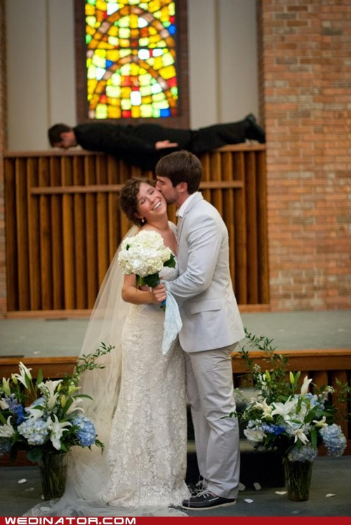 bride,funny wedding photos,groom,KISS,minister,photobomb,Planking,priest
