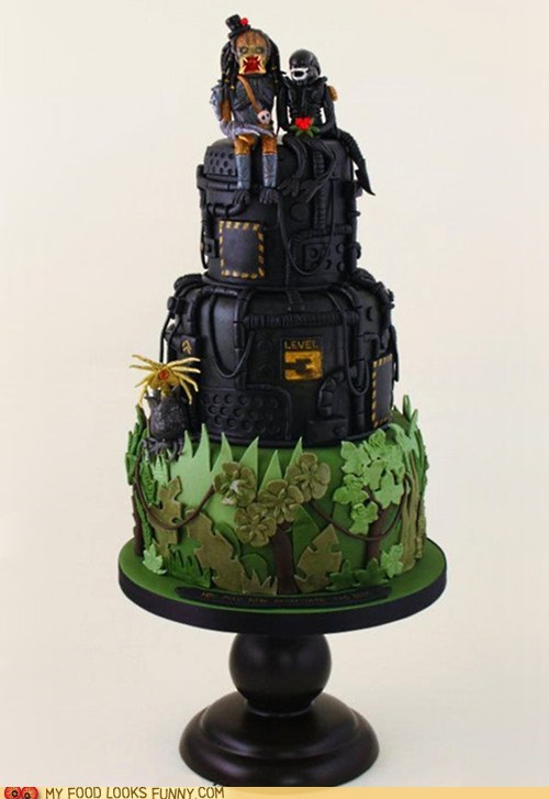 alien,black,cake,fondant,jungle,Predator,wedding cake