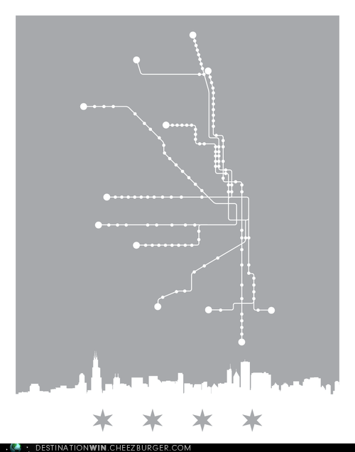 Minimalist Chicago Train Map